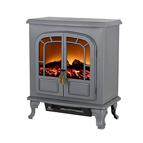 Warmlite WL46019G Wingham 2-Door Portable Electric Fire Stove Heater with Realistic LED Flame Effect, Adjustable Thermostat, Overheat Protection, 2000 W, Grey, 60.0 cm*28.3 cm*50.4 cm