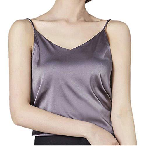 Damen Silk Camisole Bottom Bluse Shirt Weichen Frauen Sexy Satin Tank Top Crop (Grau,L