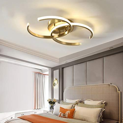 Anillo LED lámpara de techo regulable para dormitorio con control remoto Plafón araña de techo redonda diseño dorado pantalla de gel de sílice sala de estar moderna sala de estudio iluminación Ø53cm