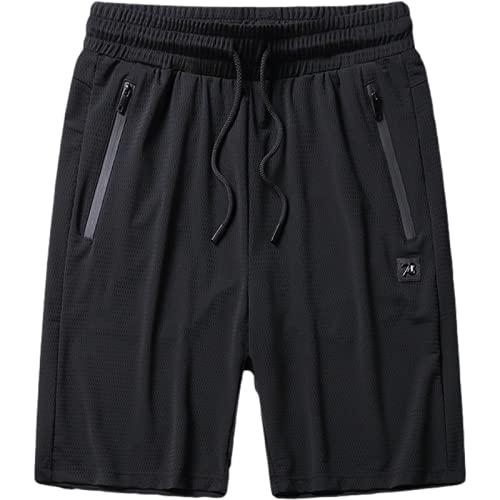 Pantalones Cortos de Malla Fina para Hombre, Tendencia Transpirable de Verano, Pantalones Deportivos Informales Sueltos de Gran tamaño, con Bolsillos con Cremallera, con cordón 4XL