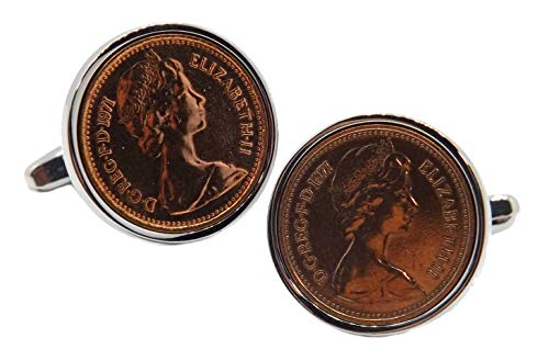 Cufflinks Direct 1971 Heads Up Englische halbe Pence-Münzen Set in Silber Fassung Männer 50 Jahre Geschenk Manschettenknöpfe (Manschettenknöpfe mit Geschenktüte)