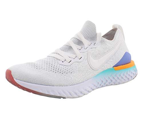 Nike Women's W Epic React Flyknit 2 Track & Field Shoes, Multicolour (White/White/Hyper Jade/Ember Glow 104), 3.5 UK