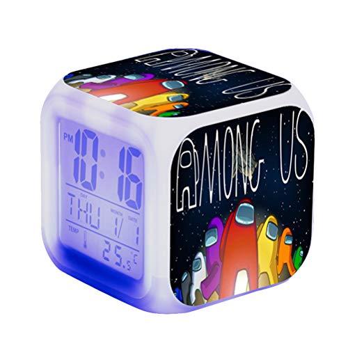 Fangteke Among Us Führte Wecker Unter Uns Spiel Figur Leuchtende Digitaluhr Buntes Blitzlicht für Kinder Bunte Farbwechselnde Quadratische Uhr