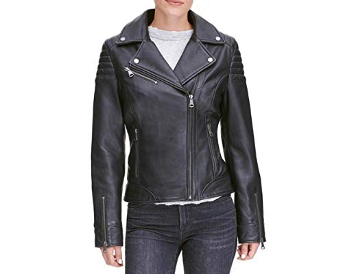 Leather Hubb Black New Zealand Leather Women Biker Moto Jacket Swift (5XL)