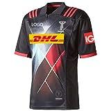 LQLD 2021 Harlequins Rugby, Maillot Manches Courtes Formation Costume Sport Coupe du Monde Masculine T-Shirt décontracté et Confortable Respirant Jersey Grande Taille Noir,Noir,S