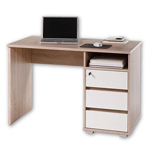 PRIMUS 1 Schreibtisch mit Schubladen, Sonoma Eiche Optik / Weiß - Bürotisch Computertisch fürs Homeoffice mit Stauraum und offenem Ablagefach - 110 x 75 x 65 cm (B/H/T)