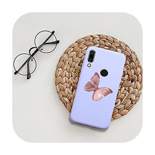 Funda de silicona para Huawei P20 P30 P40 Lite E Honor 9 10 10i Lite 20 30 Pro 9A 8A 9C mariposa flor suave TPU contraporta-BT 7 Púrpura-Para Honor 20i