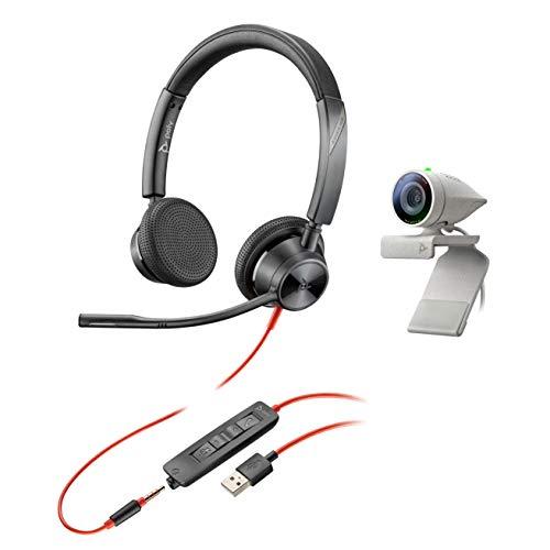 Poly - Kit Studio P5 con Blackwire 3325 (Plantronics) - Cámara de videoconferencia HD de 1080p - Kit USB-A de Auriculares con Cable de Audio estéreo y cámara Web Profesional