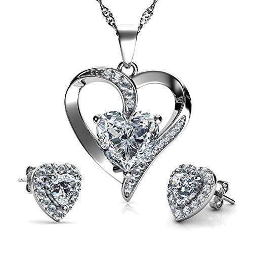 DEPHINI - Juego de collar y pendientes de corazón - Plata de ley 925 - Pendientes de cristal blanco y piedra natalicia - Juego de joyería fina para mujer - circonita cúbica