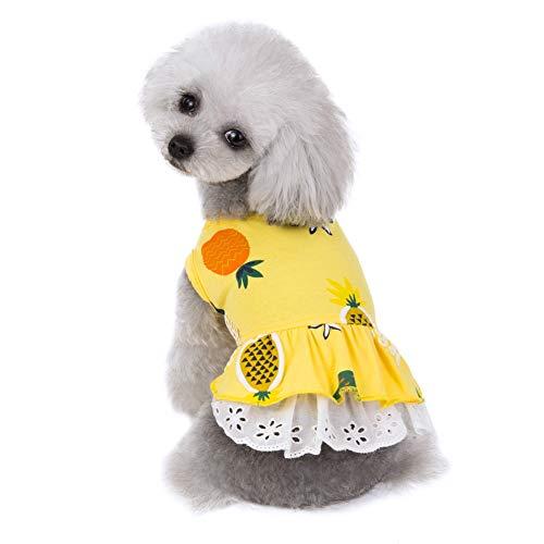 Greyghost Hond Kat Jurken Voor Yorkies Chihuahua Kleding Zomer Ananas Puppy Katoen Huisdier Hond Kleding Katten Dieren Rok Jurk, S, Geel