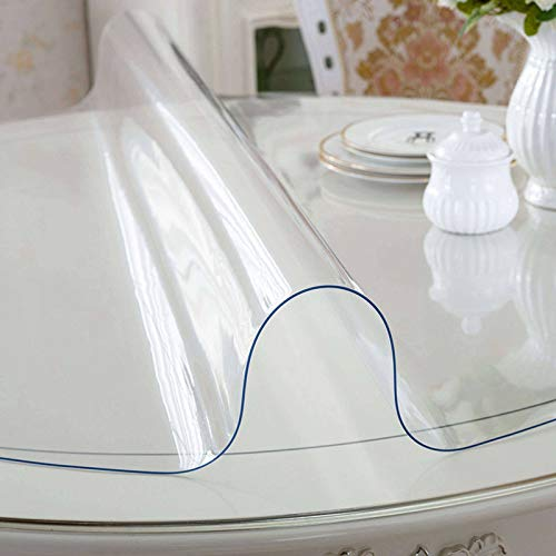 Transparente Mantel, Redondo Cristal PVC Protector Antimanchas Impermeable Fácil de Limpiar Plástico Vidrio Suave Adecuado para Mesa de Comedor Salón Comedor-Grueso: 2mm-diámetro:100cm(39pulgada)