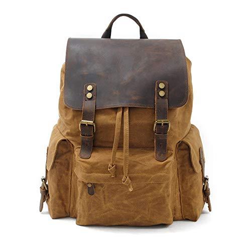MX kingdom Unisex Vintage Waterproof Canvas Backpack,Outdoor Sports Casual Daypack,Canvas Genuine Leather Travel Bag,17 Inch Laptop Rucksack,Multi-pocket design,Large capacity