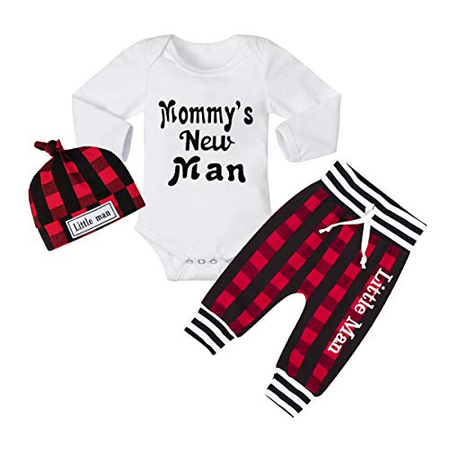 Baby Boy Clothes Mammy's New Man Letter Print Romper+Plaid Pants+Little Man Hat 3PCS Outfits Set 3-6 Months