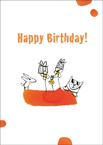 Grappige verjaardagskaart met hond, kat en vele geschenken: Happy Birthday • ook voor direct verzenden met uw persoonlijke tekst als inlegger. • Elegante felicitatiekaart voor verjaardag met envelop zakelijk & privé