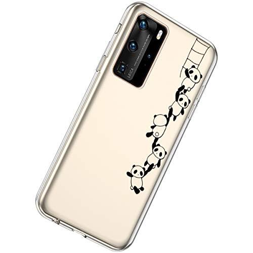 Herbests Kompatibel mit Huawei P40 Pro Hülle Silikon Weich TPU Handyhülle Durchsichtige Schutzhülle Niedlich Muster Transparent Ultradünn Kristall Klar Handyhülle,Panda String