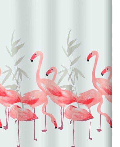 """Spirella Anti-Schimmel Duschvorhang - Anti-Bakteriell, waschbar, wasserdicht, Polyester, """"Flamingo"""" 180x200cm"""