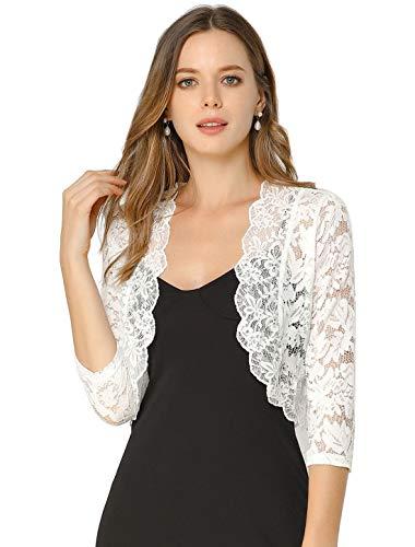 Allegra K Women's Elegant 3/4 Sleeve Sheer Floral Lace Shrug Top Large White