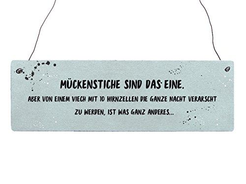 Interluxe Holzschild Vintage MÜCKENSTICHE SIND DAS EINE Witzig Schlafzimmer Mood Blau