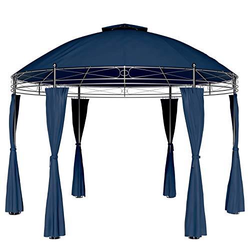 Deuba Pavillon Toscana 3,5m Seitenwände Rund Festzelt Partyzelt Gartenlaube Gartenzelt Gartenpavillon Blau