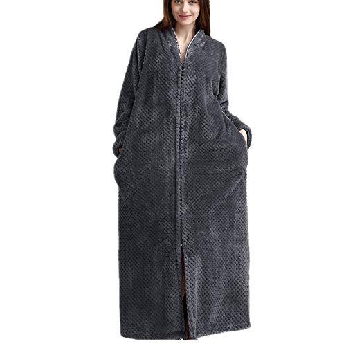 Damen Long Plus Bademantel (M bis XL), Reißverschlusskleid, Mikrofaser (100% Polyester) - 2 Taschen, Gürtel - weicher, saugfähiger, bequemer BademantelgrauL