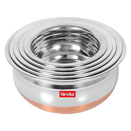 Steel Handi Set Copper Bottom handi urli Set of 5pc pcs Piece Kitchen Serving,biryani milk new pot pan/tapeli/pateli/tope/Cooking Bowl,mixing home appliances salad, 5-Pieces 500ml, 800ml, 1000ml, 1200 ml, 1500 ml,