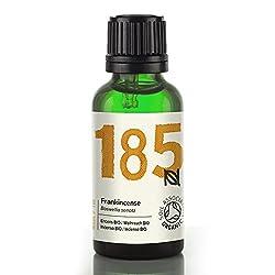 Huile essentielle d'Encens 100% pure et certifiée BIO par la Soil Association. INCI : boswellia serrata. Origine : Inde. Huile jaune pâle, visqueuse au parfum frais et terreux. En aromathérapie, on l'utilise pour ses propriétés apaisantes et positiva...