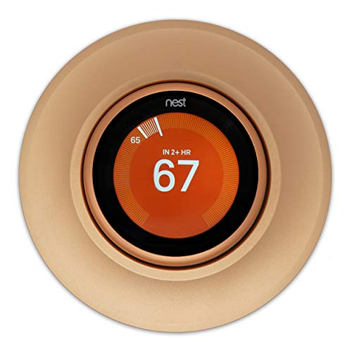 Coveeyaltz Thermostat Round Wall Plate Compatible With Nest Learning Thermostat 3rd 2nd 1st Generation, Metal Base and Exchangeable Cover, Easy Installation with Harness and Fasten Wall Mount (Gold)