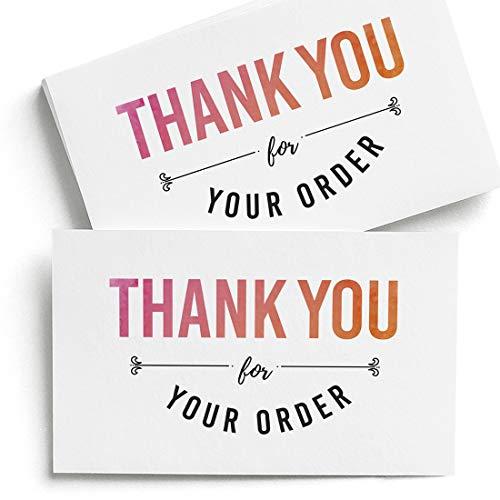 Dankeskarten für Ihre Bestellung, Set mit 100 Stück, 10,2 x 6,3 cm, Danke für Ihre Bestellscheine, 300 g/m², Dankeschön für Ihren Bestellhinweis – Hergestellt in den USA.