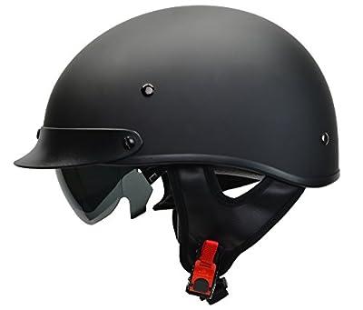 Vega Helmets Warrior Motorcycle Half Helmet with Sunshield for Men & Women, Adjustable Size Dial DOT Half Face Skull Cap for Bike Cruiser Chopper Moped Scooter ATV (Medium, Matte Black) from Vega Helmets