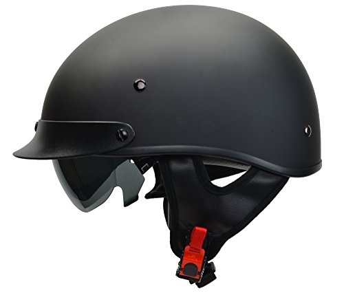 ILM Motorcycle Half Helmet with Sunshield Quick Release Strap Fit for Bike Cruiser Scooter Harley DOT Approved M, Gloss Black