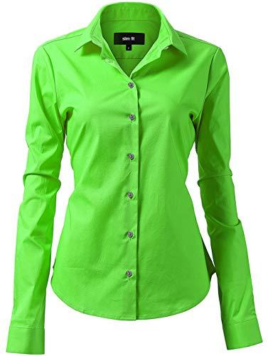 INFLATION Damen Hemd mit Knöpfen Baumwolle Bluse Langarmshirt Figurbetonte Hemdbluse Business Oberteil Arbeithemden Grün 42/16