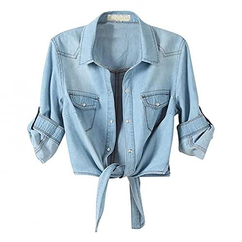 Lomelomme Jeanshemd Damen Denim Bluse Hemd Kurzarm Shirt Top mit mittellangen Ärmeln mit Spitzenknoten
