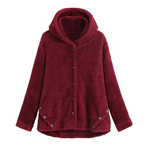 KEERADS Damen Winter Plüsch Kapuzenpullover Langarm Teddy-Fleece Sweatshirt Pullover Mode Große Kapuzenpulli Oberteil Einfarbig Warm Fleecejacke Streetwear Outwear