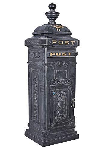 Standbriefkasten Postkasten Antik Stil Zeitungskasten Grau Metall Aluminium in Grau LTA302 Grau Palazzo Exclusiv