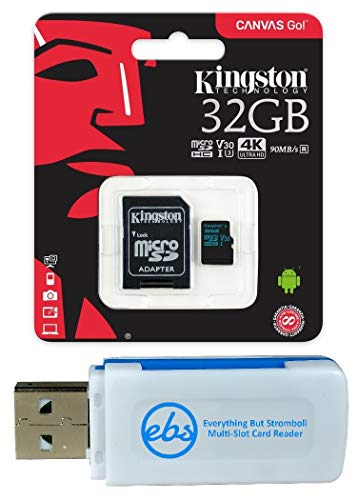 Kingston 32GB SDHC Micro Canvas Go! Memory Card and Adapter Works with GoPro Hero 7 Black, Silver, Hero7 White Camera (SDCG2/32GB) Bundle with (1) Everything But Stromboli TF and SD Card Reader