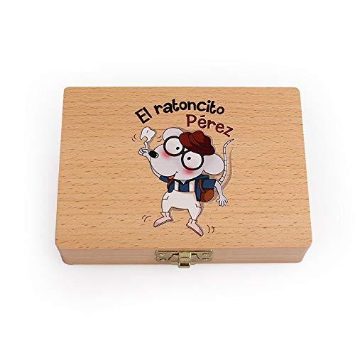 Lorenory Cajas para Dientes Bebé Caja de Madera Caja de Die