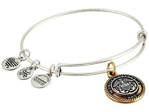 Alex and Ani Navy Bangle Bracelet Two-Tone One Size