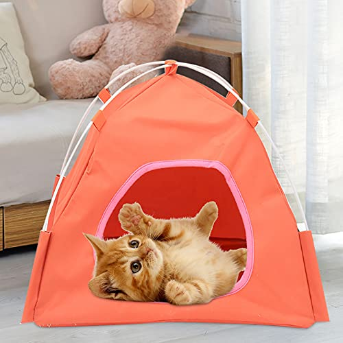 2021 Breathable Washable Pet Puppy Kennel Dog Cat Folding Indoor Outdoor House Bed Tent for Small Medium Dog Puppy Cat (37X37X32CM, Orange)