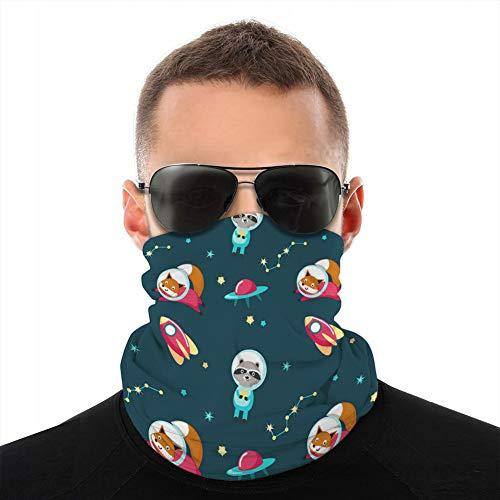 Xunulyn Bandana Cover Shield Frauen Männer für Staub Wind Sonnenschutz niedliche Tiere im Kosmos nahtloses Muster Sturmhaube Schal Abdeckung