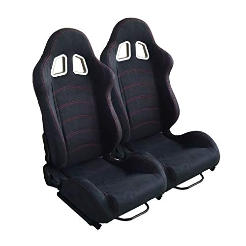 AutoForever Black Suede Leather Reclinable Racing Seat Double Red Stitch with Adjustable Slide (Left Right)