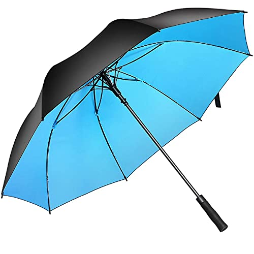 Superbison Dual-Layer Golfschirm 62 Zoll Extra Groß Schirme Automatisch Öffnen Stark Winddichte wasserdichte Regenschirm (Schwarz/Blau, Umfang 155cm / Durchmesser 132cm)