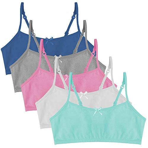 Popular Girl's Cotton Cami Crop Bra with Adjustable Straps - 5 Pack- Brights - X-Large (14)