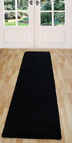 Passatoia lunga. Tappeto in stile moderno ma tradizionale, fantasia a righe, ideale per corridoio o ingresso, Polipropilene, Shaggy Black, 60 x 230 cm (2' x 7'7