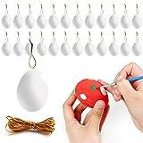 Yisscen Uova di Pasqua Decorazioni Fai da Te UovaOrnamento da Appendere Adatto a Festa Genitore Figlio attività Manuali per Bambini Pittura Pasqua Giocattoli 6 x 4CM Bianco