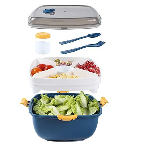 Contenedor de ensalada para el almuerzo, sin BPA, 4 compartimentos estilo bento para ensaladas y aperitivos, con recipiente para salsa, y cuchara para tenedor reutilizable incorporada, (amarillo)