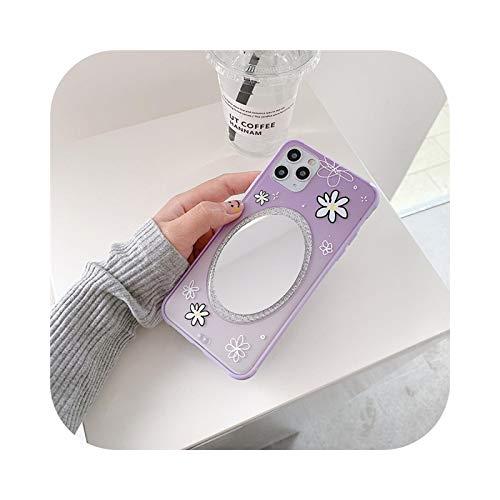 Carcasa para iPhone 11, diseño de flores y espejo, para iPhone 11 Pro Max XS Max 7 8 Plus se 2020, cubierta trasera suave para mujer, regalo -T4-Foriphone 11 Pro Max