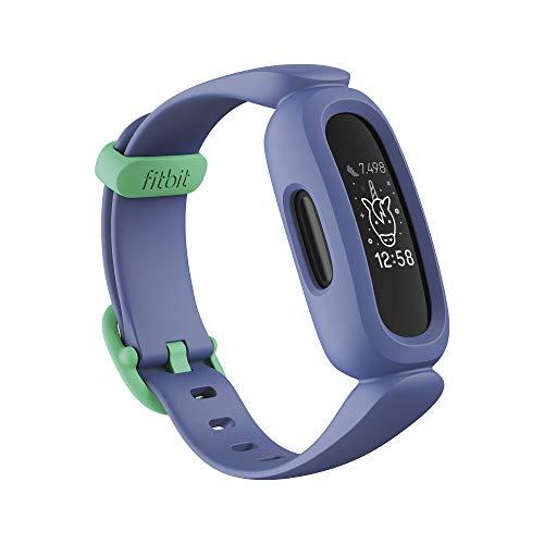 Fitbit Ace 3 pulsera de actividad para niños de +6 años con divertidos formatos de reloj animados, Resistente al agua hasta 50 m y hasta 8 días de batería, Azul cósmico/Verde astral
