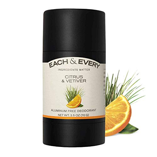 Each & Every Natural Aluminum-Free Deodorant for Sensitive Skin Made with Essential Oils, Plant-Based Packaging, Citrus & Vetiver, 2.5 Oz.