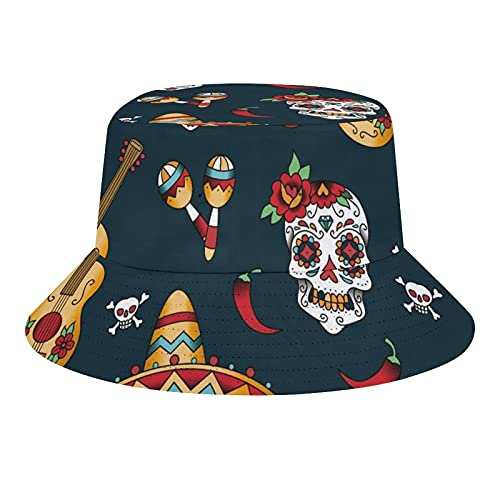 Indimization Sombrero De Pescador Plegable Bucket Hat Unisex para Hombres Mujeres Adolescentes Acampar Al Aire Libre Senderismo Pesca Guitarra Calavera Chile 56