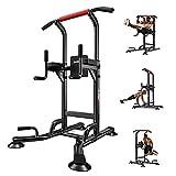 ycnsb Rack Dominadas Maquina Multifuncional Gym con Asas para Flexiones, Dip Station, Pull Up Bar, Tamaño Regulable 150-230 cm, Maquinas de Gimnasio, Negro Multiestaciones